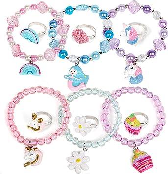 6PCS en bois mignon mode filles Bracelet pour filles enfants cadeau de bébé