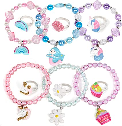 12 Pcs Girls Jewelry Bracelet Ring Unicorn Stretchy Bead Bracelets Mermaid Bracelet Costume Jewelry Set Party Favors Prize Gift for Kids