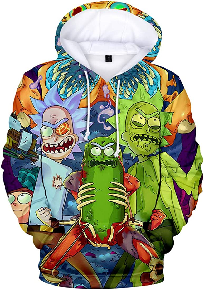 DUHUD Teen Girls and Boys 3D Print Hoodie Unisex Pullover Christmas Xmas Gift Sweatshirts Rick and Morty E00455Z 14-16 Years