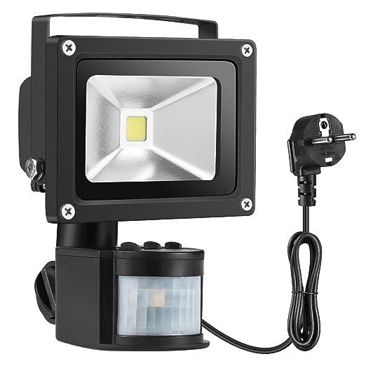 Warmoon - Foco de luz LED con detector de movimiento, 10W, luz