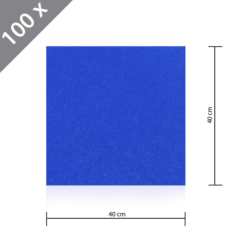 100 x HSM Teppichfliese Nadelfilz Bodenbelag selbstklebend für Treppe, Kinderzimmer oder Küche 40cm x 40cm BLAU