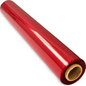 200 ft Red Cellophane Wrap Roll (16 in x 200 ft) - Cellophane Wrap Red - Colored Cellophane Wrap - Red Transparent Paper - Red Clear Wrap - Cellophane Roll Red - Red Basket Wrap