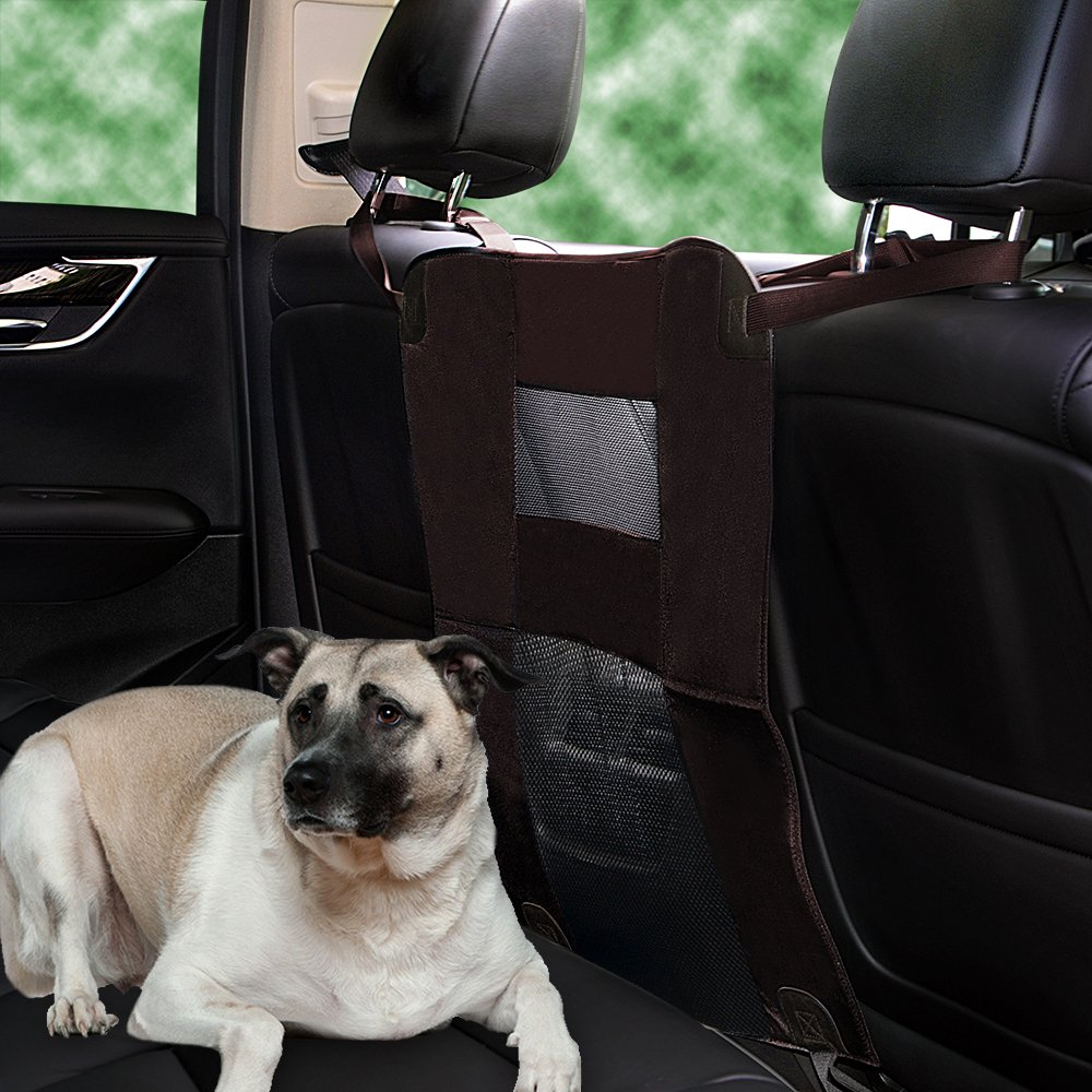 Wellbro Luxury Durable Nylon Net and Oxford Cloth Pet Barrier, Padded Vehicle Travel Dog Barriers, Waterproof and Safe, Keep Dogs in Back Seat, Fits All Cars 24'' Long x 24'' Wide (Brown) by Wellbro (Image #7)