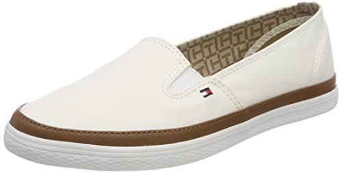 Tommy Hilfiger Women's Iconic Kesha Slip on Low-Top Sneakers, White  (Whisper White