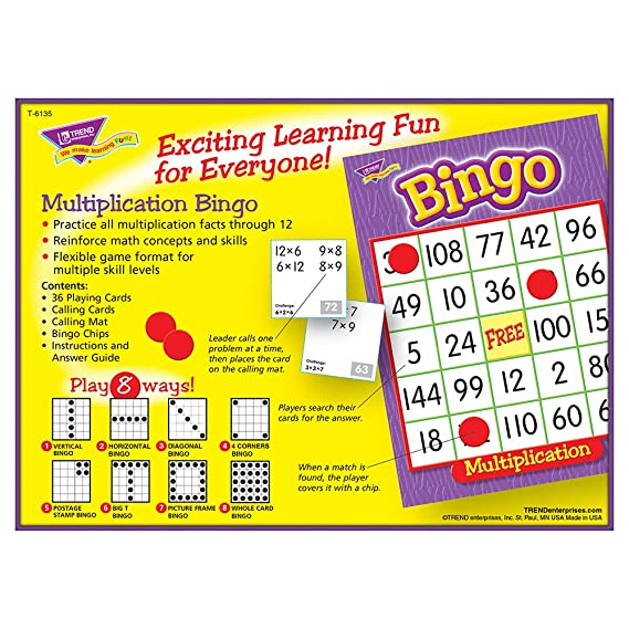 Amazon Com Multiplication Bingo Game Toys Games