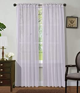 """Sapphire Home 2 Panels Window Sheer Curtains 54"""" x 84"""" Inches (108"""" Total Width), Voile Panels for Bedroom Living Room, Rod Pocket, Decorative Curtains, Solid Sheer Curtains White"""