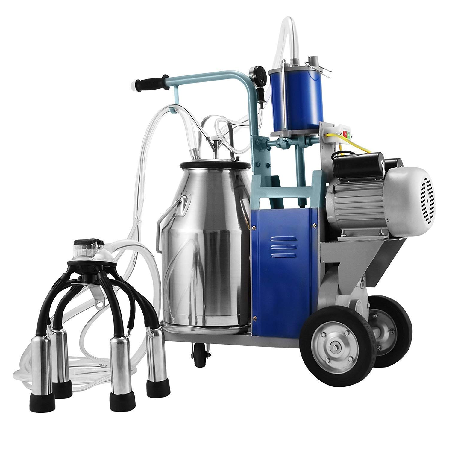 Happybuy Electric Milking Machine 1440 RPM 10-12 Cows per Hour Milking Machine 0.55 KW Milking Machine Single with 25L 304 Stainless Steel Bucket Milk Machine for Cows Cattle (for Cow)