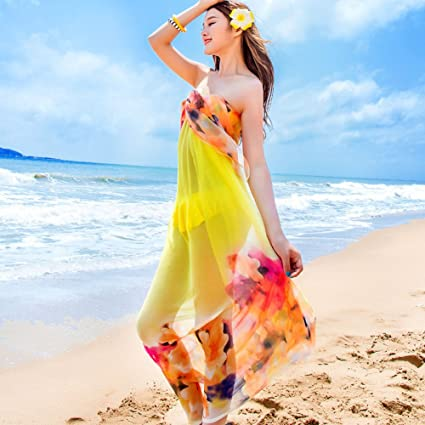 e425acc46f632 Image Unavailable. Image not available for. Color: Sexy Women Chiffon Beach  Swimwear Printing Flower Sarong Wrap Dress Bikini Cover Up Scarf (Yellow