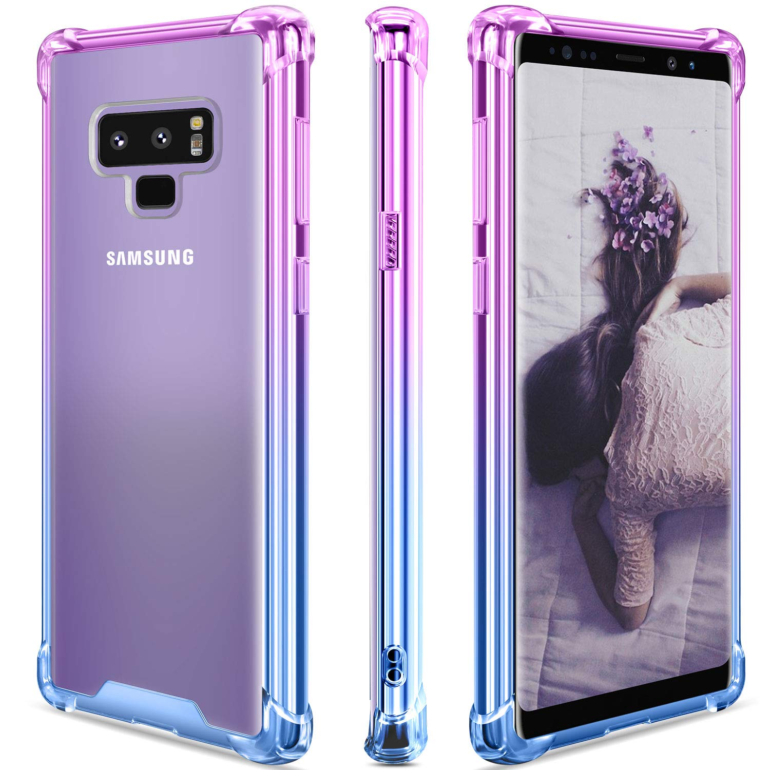Samsung Galaxy Note 9 Case,Clear Note 9 Case Shockproof TPU Bumper Cases Non Slip Scratch Resistant PC Hard Back Protective Case Cover for Galaxy Note ...
