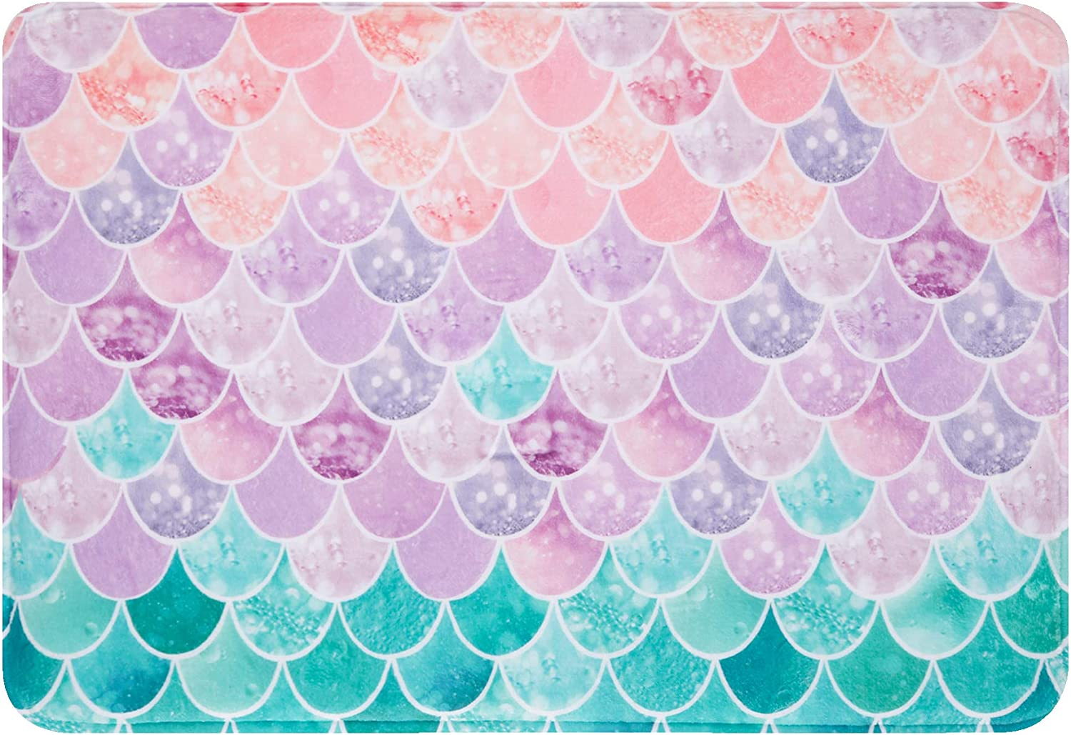 Bathroom Rug Mat, 24''X16'', Super Soft and Absorbent Shaggy Plush Bath Rugs, Thicken, Non Slip, Machine Wash and Dry,Carpet Mats for Shower, and Bath Room, Pink and Blue Fantasy Mermaid Scales