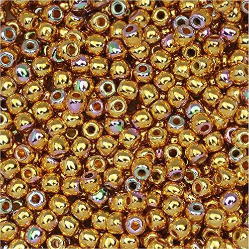 True2 Czech Glass, Round Druk Beads 2mm, 190-200 Pieces, 24K Gold Plated AB (Ab Czech Druk Beads Glass)