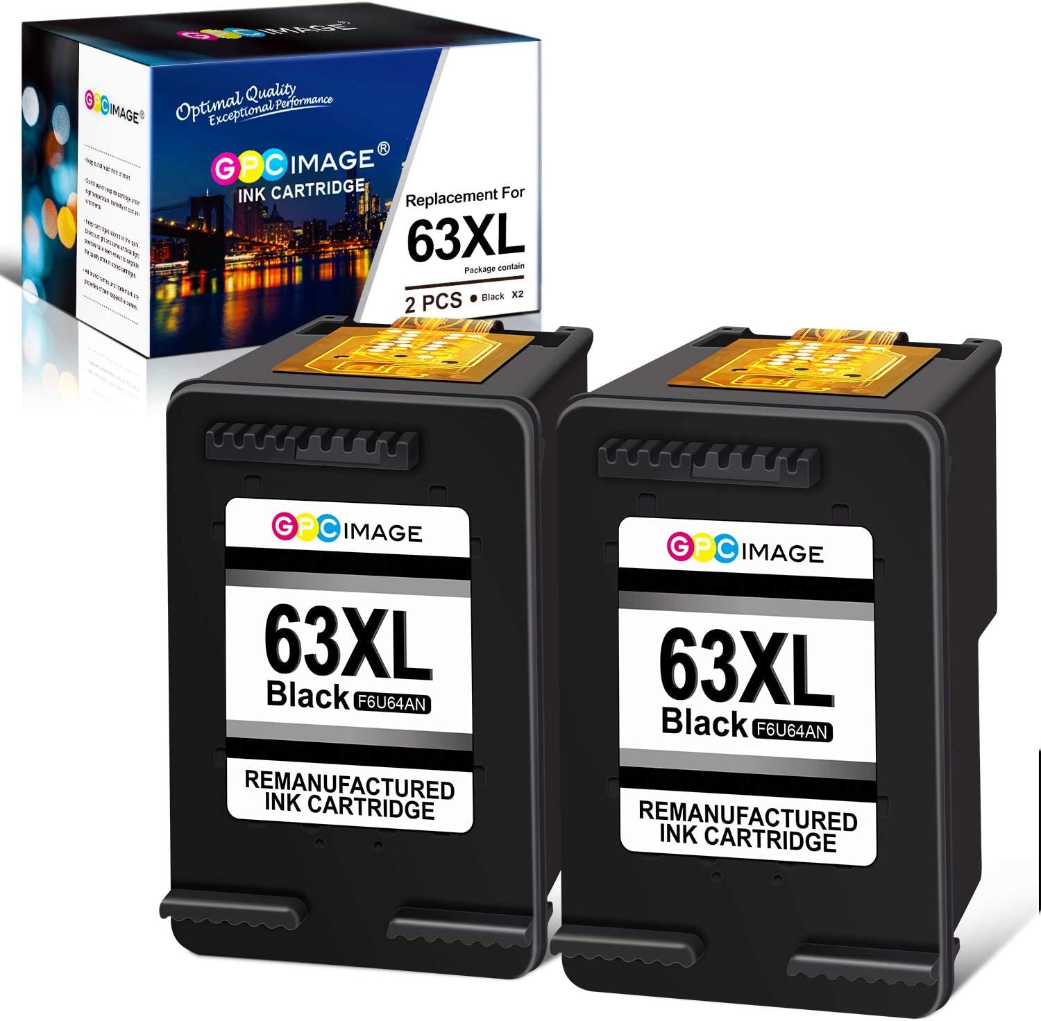 GPC Image Remanufactured Ink Cartridge Replacement for HP 63XL 63 XL with OfficeJet 3830 5255 4650 Envy 4520 4512 4516 Deskjet 1112 3630 3632 3634 2132 Printer (2 Black)