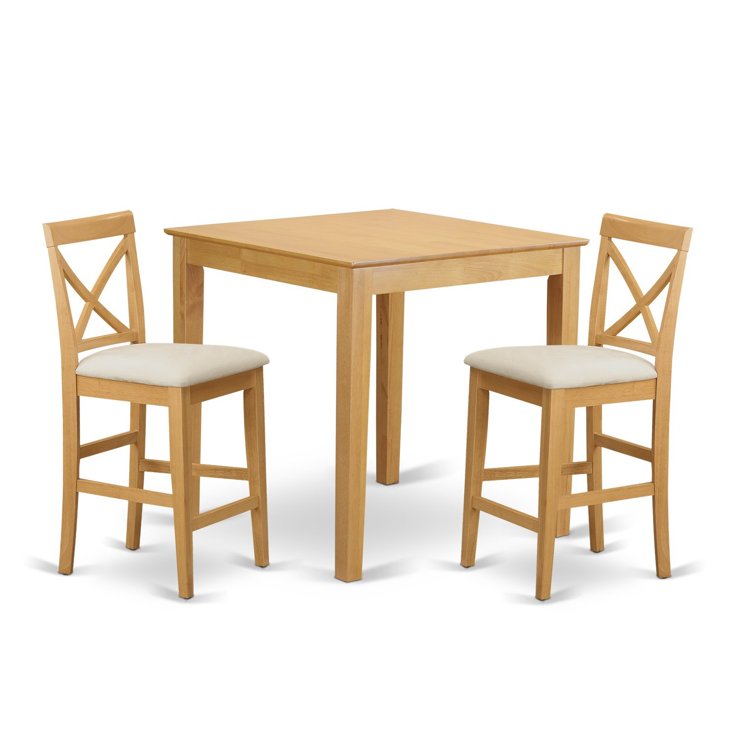 East West Furniture PUBS3-OAK-C 3-Piece Gathering Table Set - Oak Finish