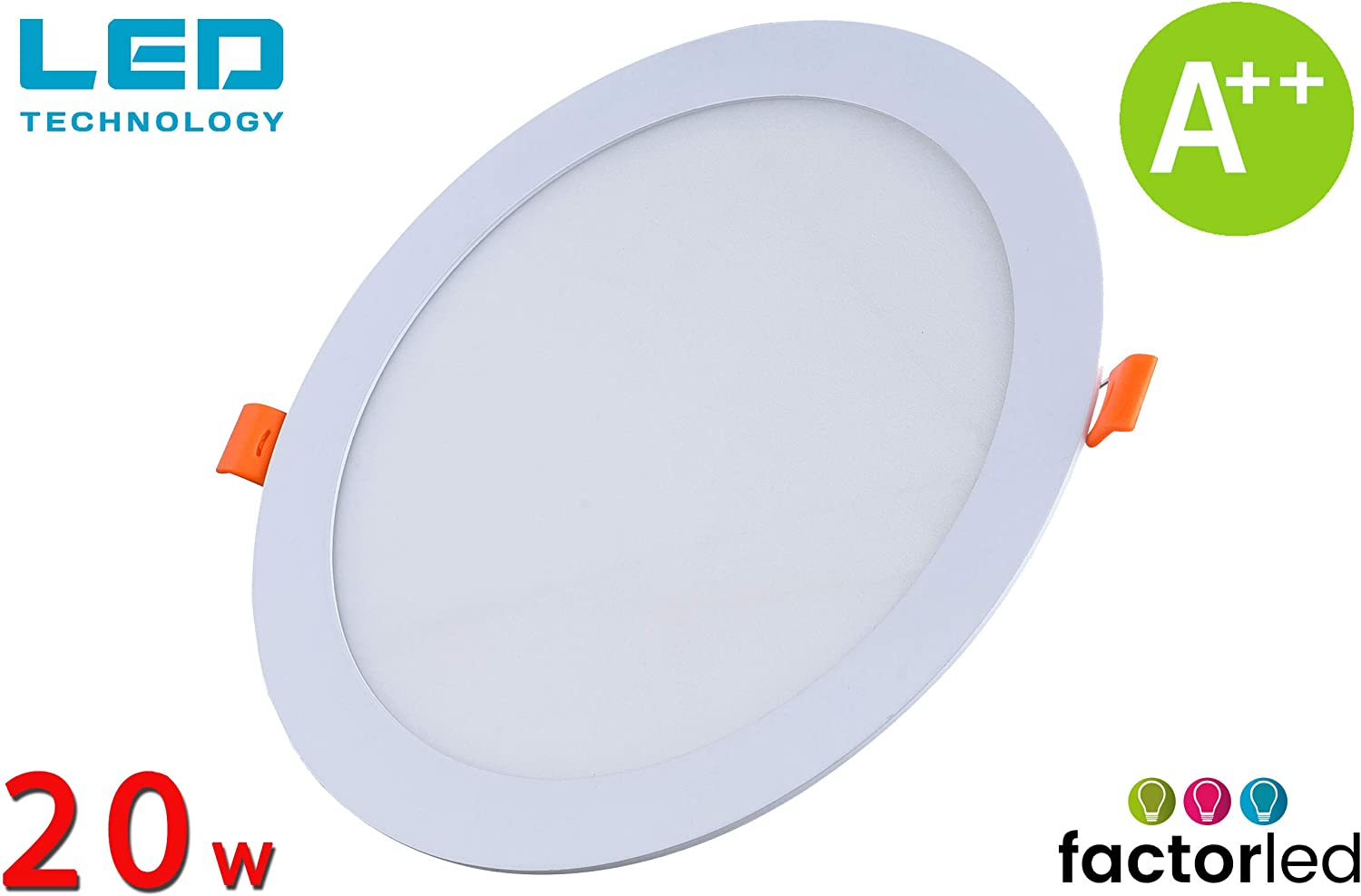 FactorLED ¡OFERTA! Downlight LED 20W Slim, Placa Circular Empotrable, Panel Redondo Extraplano 2400 lúmenes, Corte techo Φ205mm, [Clase de eficiencia energética A++] (Luz Fría (6000K))