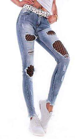 8d163d9d27364c Black Denim Damen Cut Out Stretch Jeans XS S M L XL Damen Röhrenjeans  Skinny Damenjeans E7-