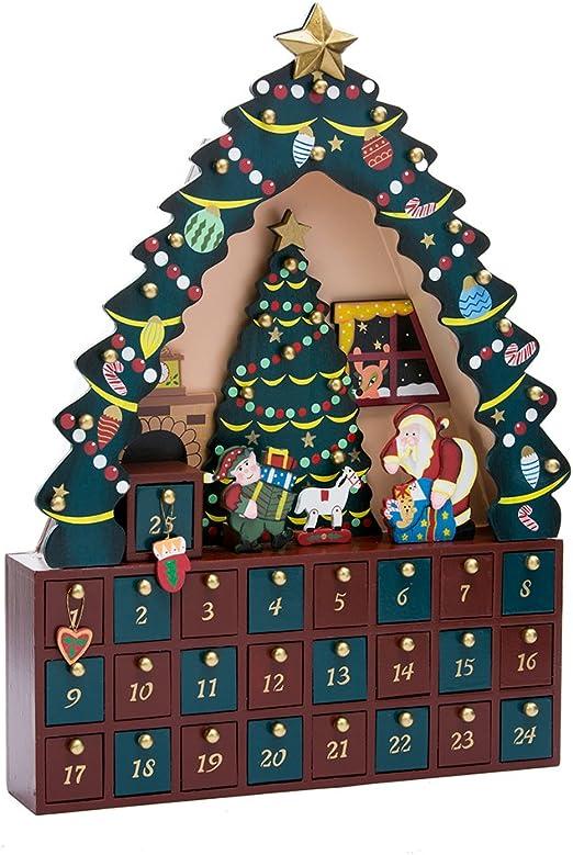 Amazon Com Kurt Adler Christmas Tree 24 Piece Advent Calendar 16 Inch Home Kitchen