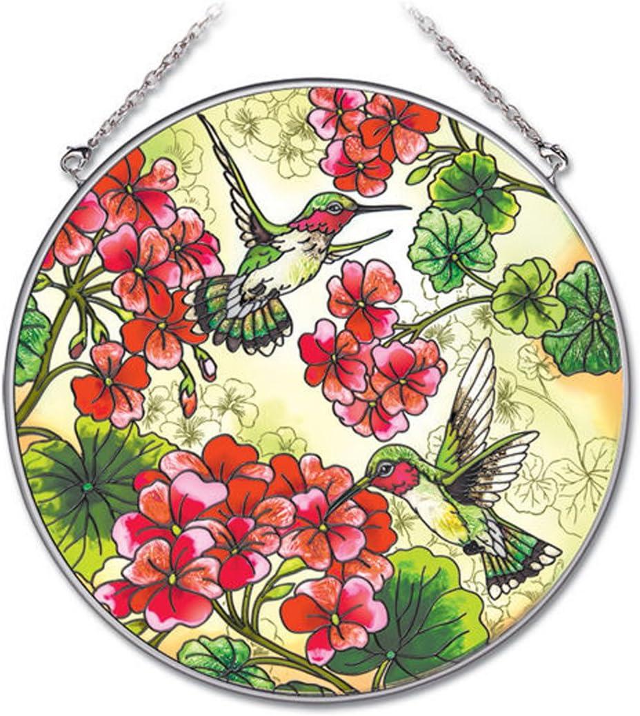 Amia 6-1/2-Inch Circle Hand-Painted Glass Suncatcher, Geranium and Hummingbird, Large