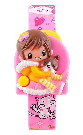 reloj digital de cuarzo banda de goma de color rosa hermoso historieta reloj único de la niña de línea separable del niño lindo: Amazon.es: Relojes