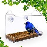 NEWCREA Clear Window Bird Feeder - Squirrel Proof Bird Feeder Window for Bird Seed- Suction Cup Bird Feeder for Outside Wild Bird,like cardinals,Hummingbird,Finch (Acrylic)