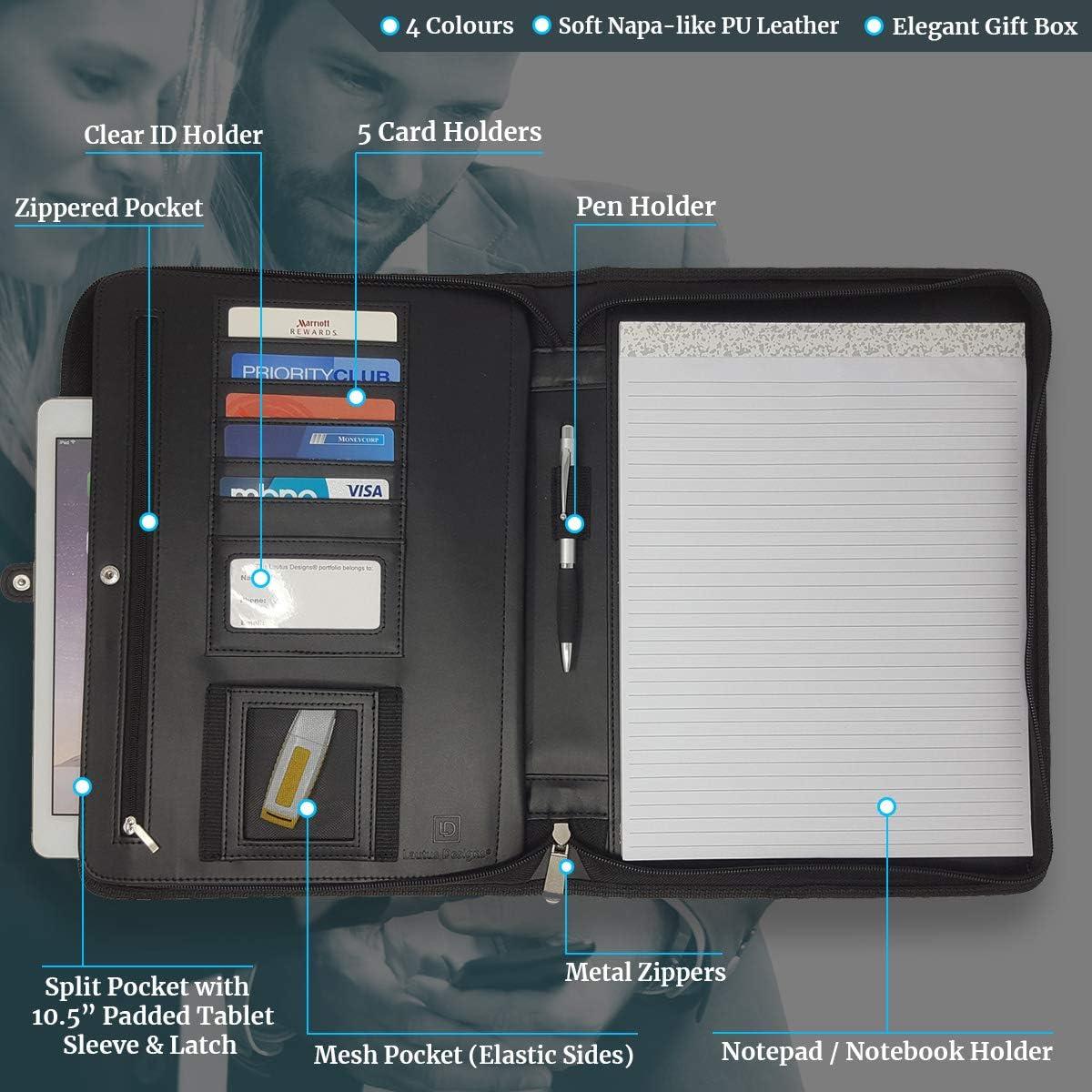 Porte-documents /étanche avec fermeture /à glissi/ère avec grande capacit/é Sac de Travail Business Bleu marin 2Types Porte document A4 pour ordinateur portable Dossier de fichiers Portfolio Organizer
