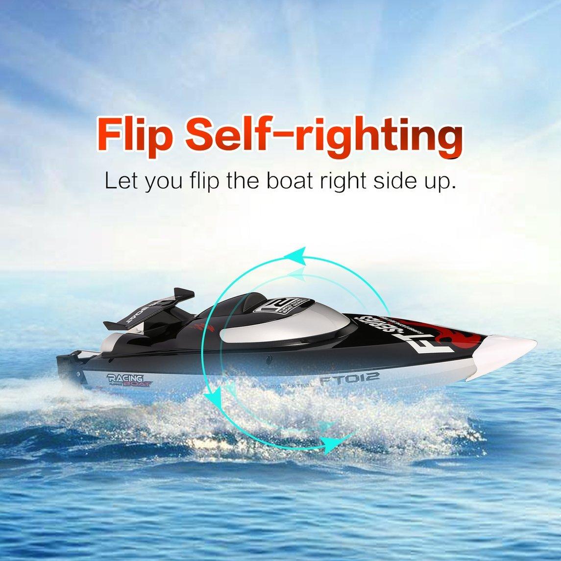 Footprintse Feilun FT012 2.4G RC Barco de 45 km / h de Alta Velocidad Racing Boat Lancha rápida con Sistema de enfriamiento de Agua sin Motor Flipped RTR