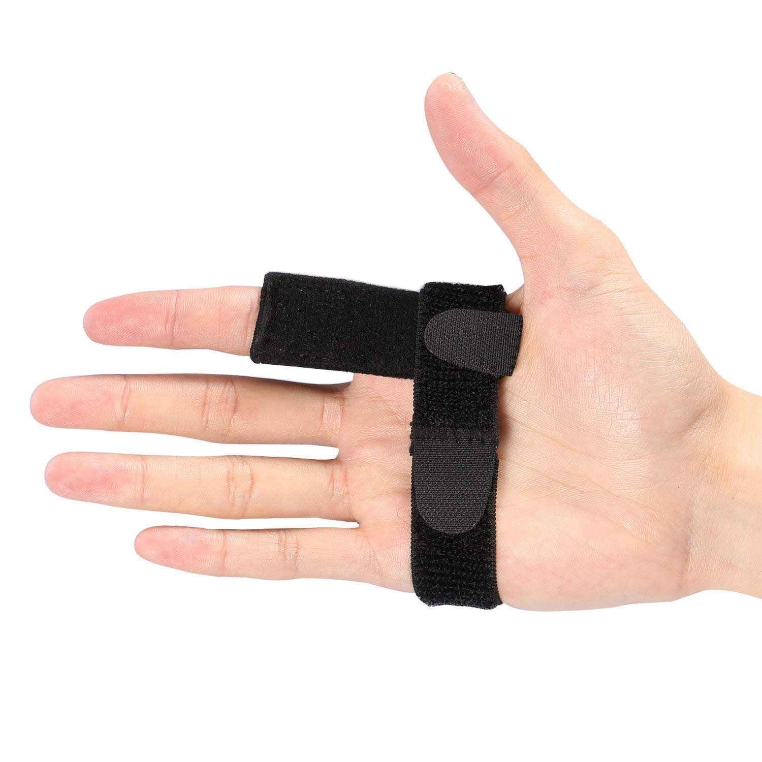 Trigger Finger Splint with Aluminium Bar, Finger Support Brace with Extra Hook & Loop Straps Fits All Fingers for Straightening Curved, Bent, Locked & Stenosing Tenosynovitis, Unisex