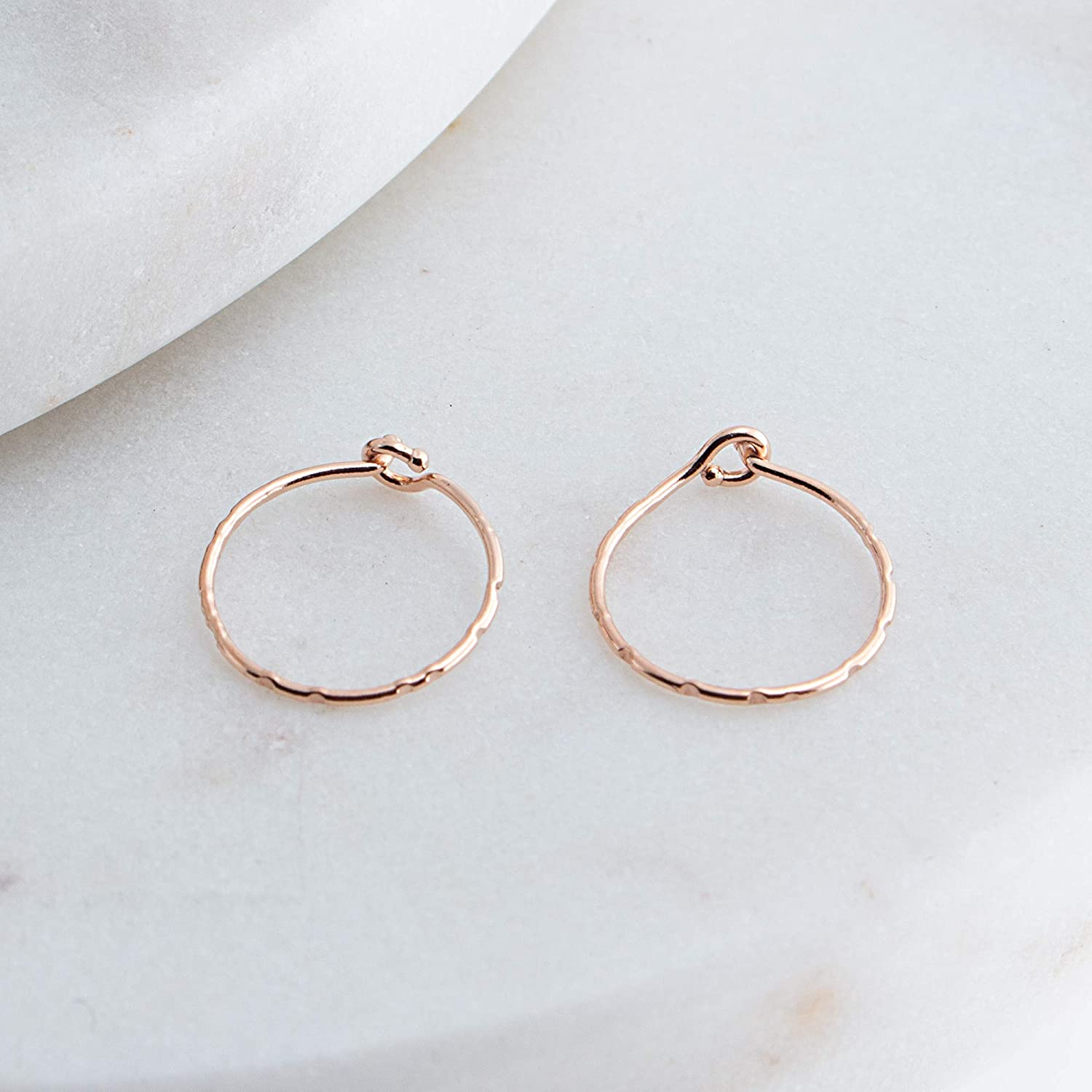Grooved Extra Thin Rose Gold Filled Hoop Earrings Handmade for Small and thin Earlobes Gift for Her RGF-CL-R-HH-D8MM-24GA