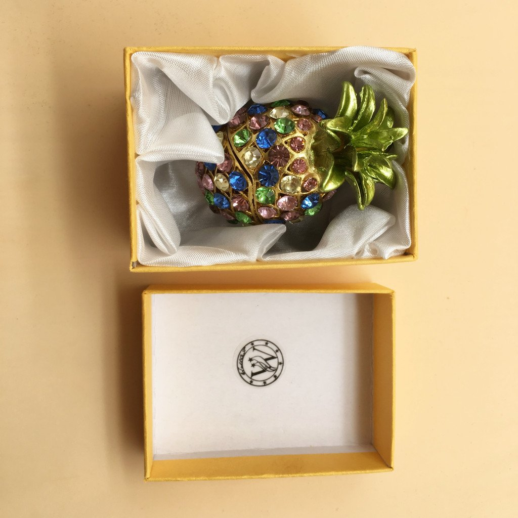 Waltz/&F Pineapple Hinged Trinket Box For Gifts Hand-painted Patterns Trinket Bejeweled Box Collectible