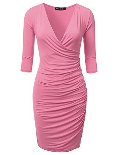 DRESSIS Women's 3/4 Sleeve Plunging Surplice Ruched Sheath Dress S-3XL (12 Colors)