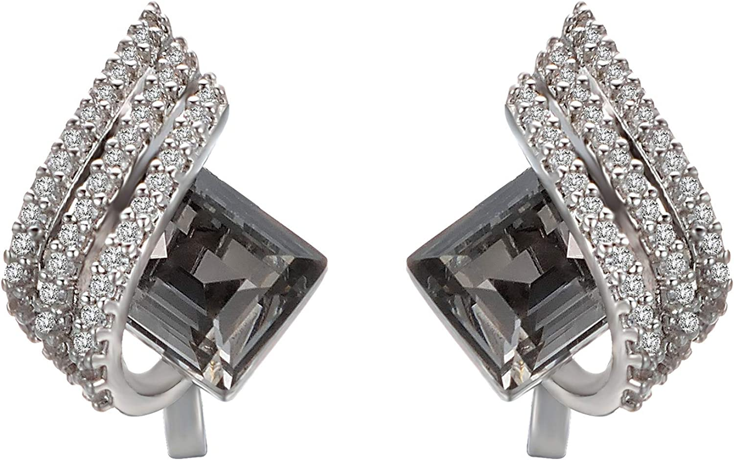 Yoursfs Womens Clipon Earrings Sparkly Cubic Zirconia Non Pierced Small Earrings for Women