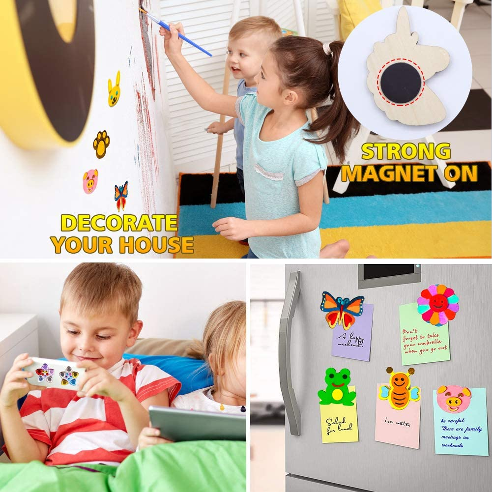 POPMISOLER DIY Painting Set Wooden Magnetic Sheet Childrens Creation Painted Magnetic Blackboard Stickers Creative Handmade Gifts