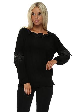 b06cebcd5e7 Laetitia Mem Black Floral Crochet Lace Blouson Jumper One Size Black   Amazon.co.uk  Clothing