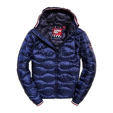 Superdry Mens Wave Quilt Jacket, Blue, Medium