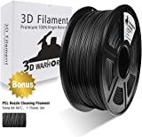 3D Filament, ABS 3D Printer Filament 1.75mm, 1KG Spool(2.2lbs),3D Printing Filament Dimensional Accuracy +/- 0.02mm-Bonus with 5M PCL Nozzle Cleaning Filament (Black)