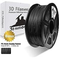3D Warhorse 3D Filament, ABS 3D Printer Filament 1.75mm, 1KG Spool(2.2lbs),3D Printing Filament Dimensional Accuracy +/- 0.02mm-Bonus with 5M PCL Nozzle Cleaning Filament (Black)