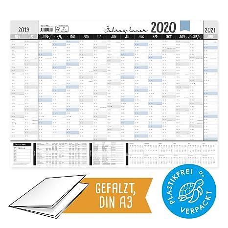 Agenda anual grande 2020, DIN A3, calendario de pared 19/20 ...