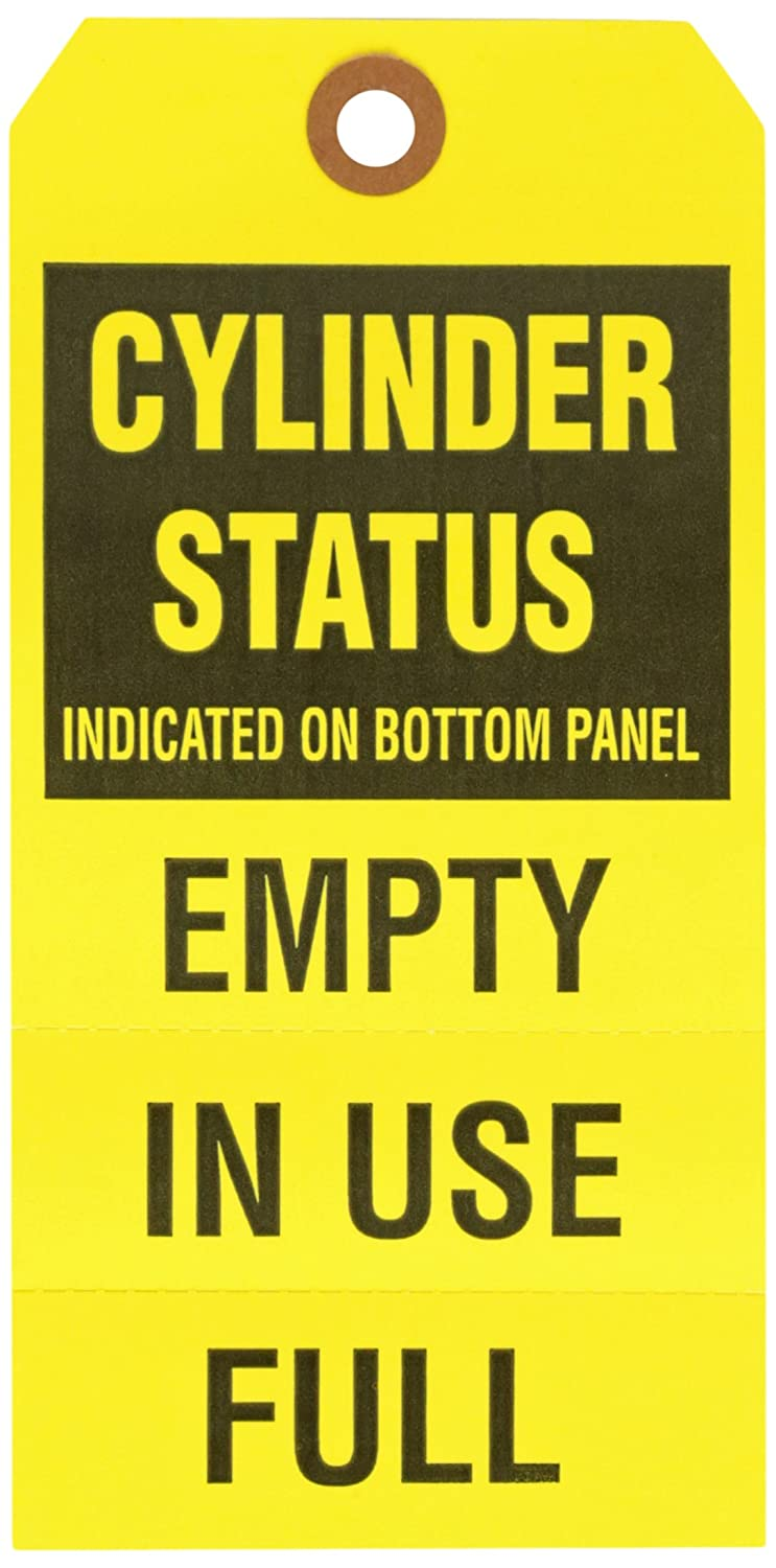 Brady 103669 6 1/4' Height x 3 1/8' Width, Cardstock, Black on Yellow Gas Cylinder Status Tags (25 Tags)