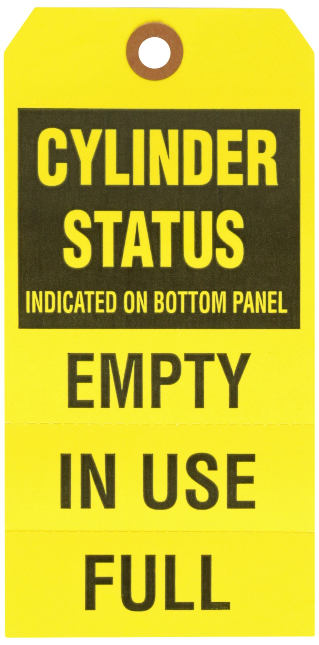 Brady 103669 6 1/4'' Height x 3 1/8'' Width, Cardstock, Black on Yellow Gas Cylinder Status Tags (25 Tags)