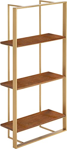 Kate and Laurel Kercheval Modern Wood Shelf, 15 x 32 , Walnut Brown and Gold, Practical Mid-Century Wall Decor