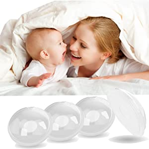 Breast Shells Milk Saver, 4 Pack Breast Pump,Breastmilk Collector,Milk Anti-Flow Out,Protect Sore Nipples,BPA-Free Flexible Food Grade Silicon and PP Material,Skin Friendly (4 Pack)