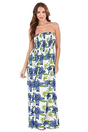 Pistachio Womens Bandeau Maxi Dress D825 - Dark Blue Lotus Print - Small 06ea5c533