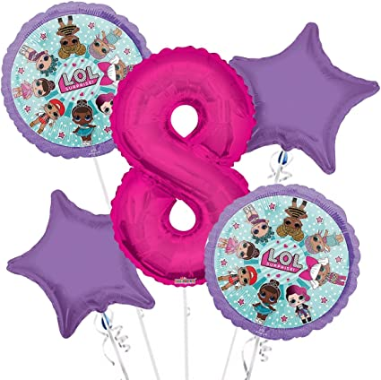 LOL Suprise Balloon Bouquet 8th Birthday 5 pcs - Party Supplies