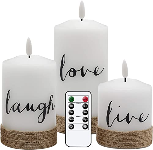 Eldnacele Flameless Flickering Candles Live Laugh Love Decal with Remote Control Timer, Hemp Rope Emblazoned White LED Pillar Candles Real Wax Battery Operated Home Deco and Gift Set of 3