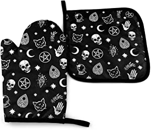 MSGUIDE Colorful Skull Cat Moon Gothic Pattern Oven Mitts Pot Holders Set, Heat Resistant Kitchen Waterproof with Inner Cotton Layer for Cooking BBQ Baking