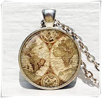 Antique world map pendant world map necklace antique map jewelry antique world map pendant world map necklace antique map jewelry gumiabroncs Choice Image