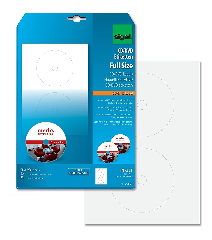 Sigel La501 Cd Dvd Etiketten Weiss 50 Etiketten 25 Blatt