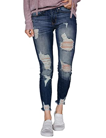 588f05cde60 Utyful Women s Casual Mid Rise Ripped Faded Denim Stretch Skinny Jeans Pants  at Amazon Women s Jeans store