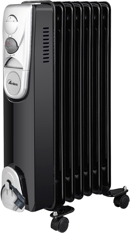 Ardes ar4r07b Radiador de aceite eléctrico con 7Elementos, 3Potenze con compartimiento enrollacables, 1500W, Negro/Silver