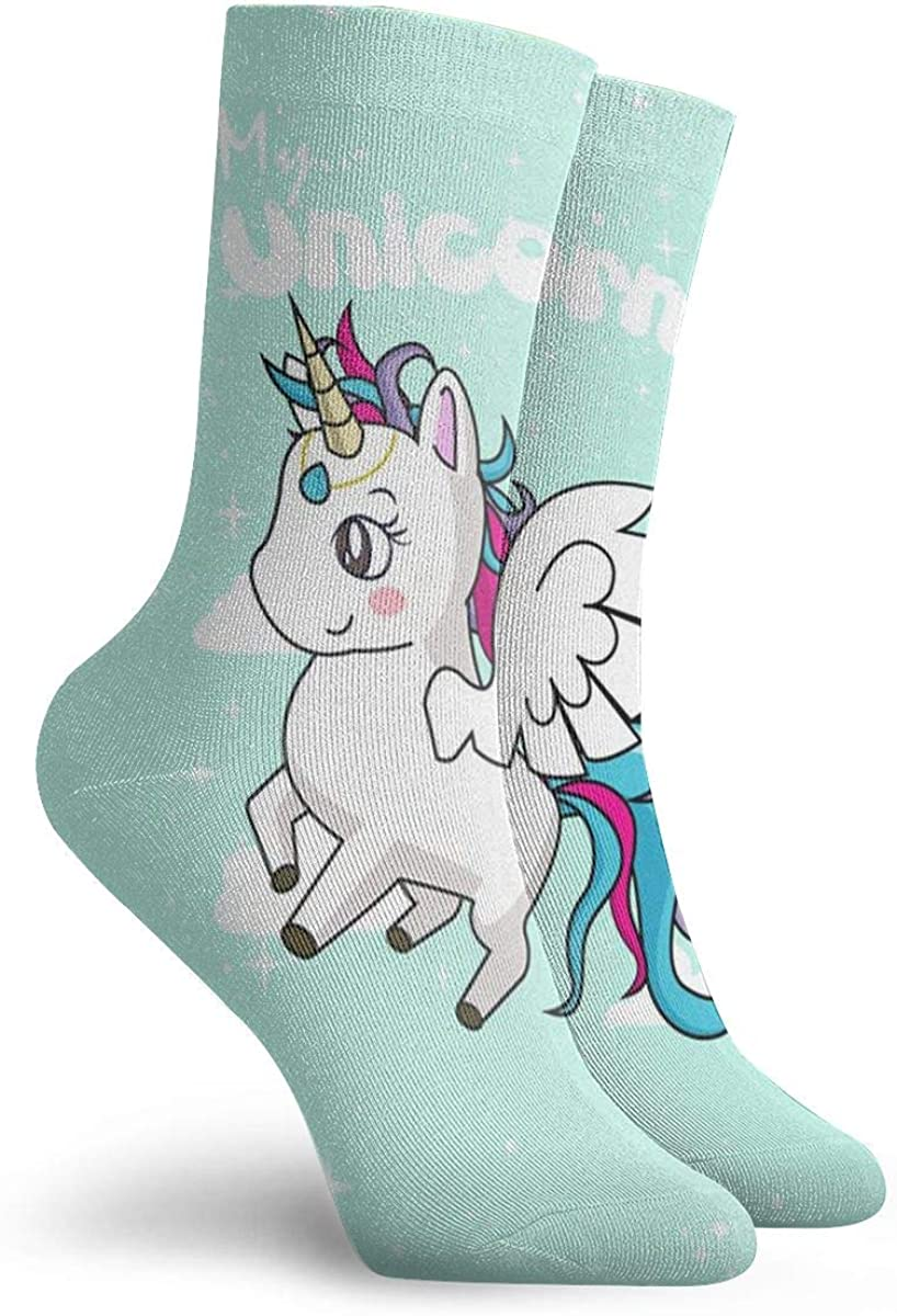 My Unicorn Unisex Funny Casual Crew Socks Athletic Socks For Boys Girls Kids Teenagers