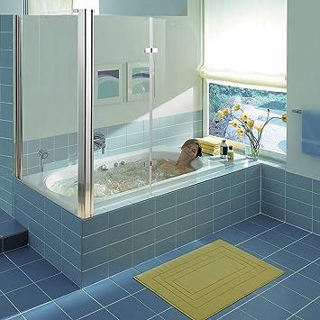 Melko Duschabtrennung Badewannenaufsatz Aus 5 Mm ESG Sicherheitsglas,  Faltbar, 68 + 120 X 140